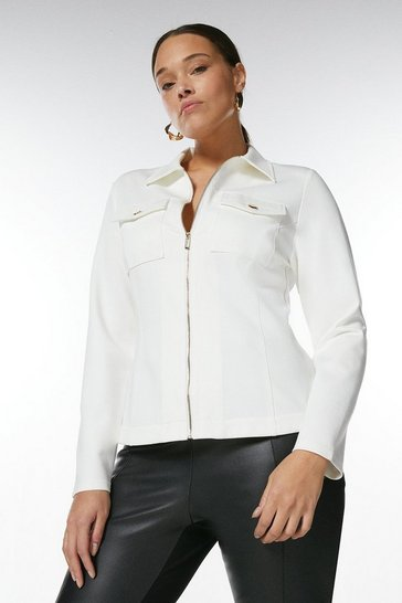 White Curve Zip Through Ponte Shirt