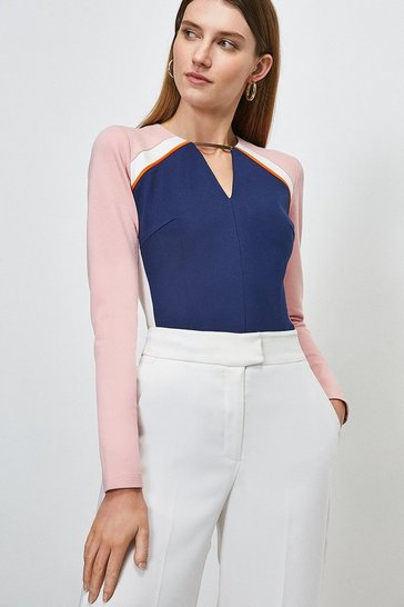 Navy Piped Colour Block Trim Neck Ponte Top