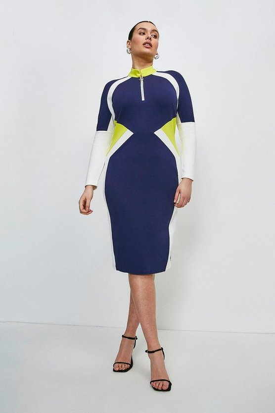 Navy Curve Colour Block Zip Neck Ponte Dress