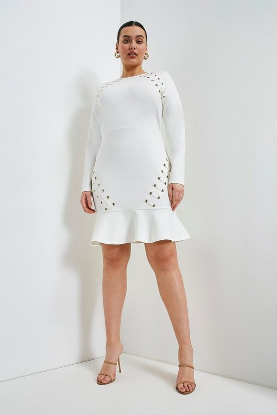 Ivory Curve Laced Eyelet Ruffle Hem Ponte Dress