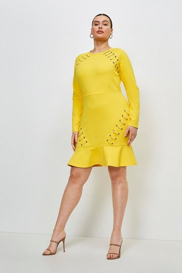 Ochre Curve Laced Eyelet Ruffle Hem Ponte Dress