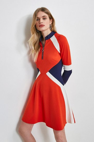 Navy Colour Block Zip Ponte Dress