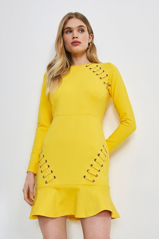 Ochre Laced Eyelet Ruffle Hem Ponte Dress