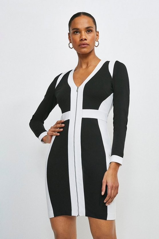 Mono Zip Front Colour Block Ponte Dress