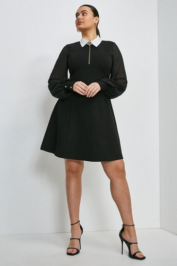 Black Curve Contrast Collar Zip Ponte Dress