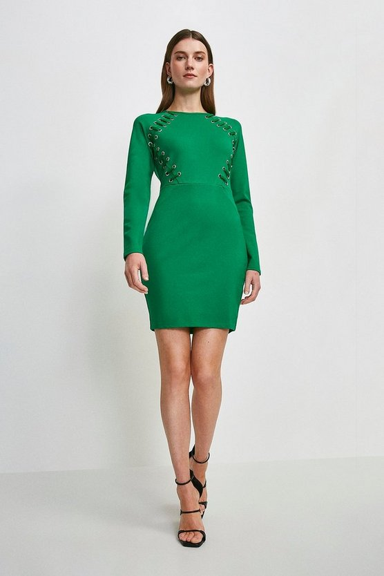 Bright green Laced Eyelet Ponte Shift Dress