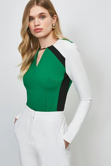 Green Trim Neck Colour Block Ponte Top