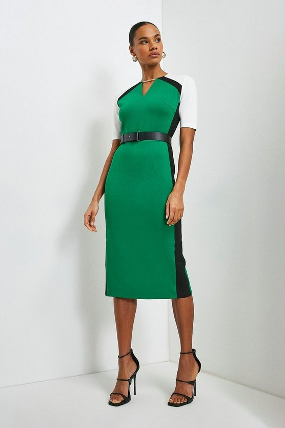 Green Belted Colour Block Ponte Shift Dress