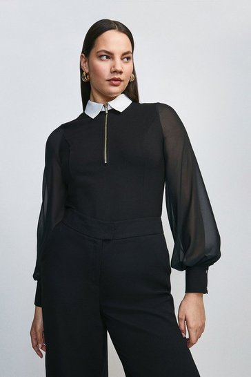 Black Curve Contrast Collar Zip Ponte Top
