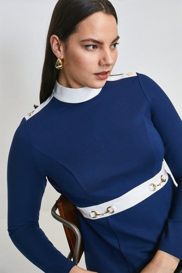 Navy Curve Snaffle Trim Colour Block Ponte Top
