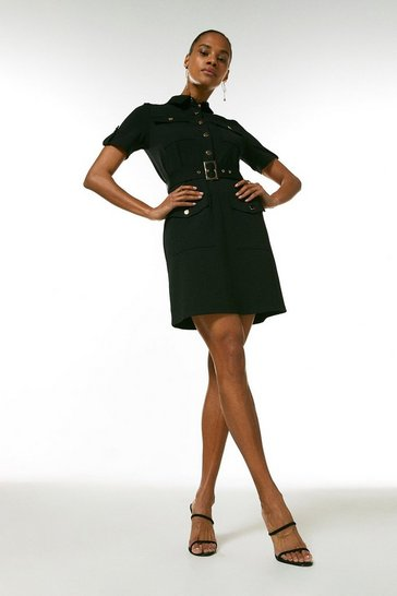 Black Utility Pocket Ponte Dress