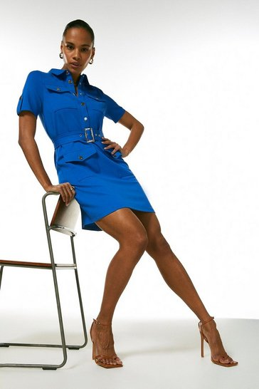 Cobalt Utility Pocket Ponte Dress