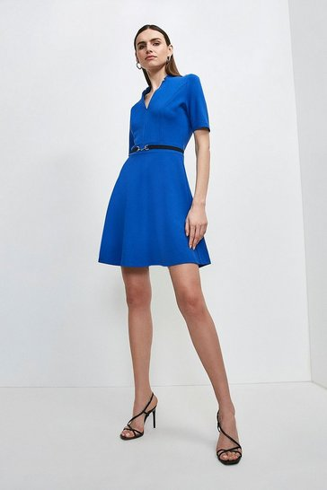 Cobalt Notch Neck Snaffle Trim Ponte Dress