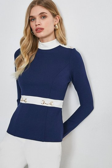 Navy Snaffle Trim Colour Block Ponte Top