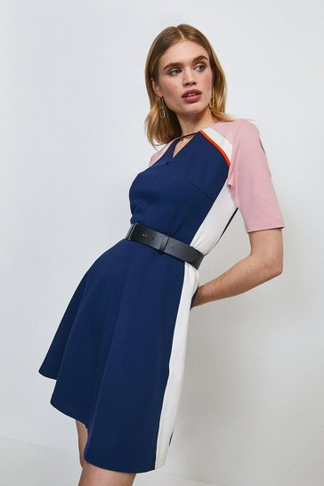 Navy Piped Colour Block Belted Ponte Dress