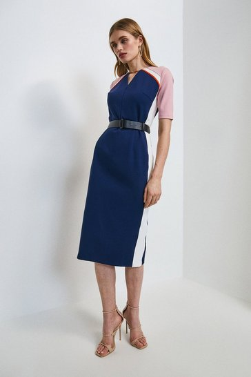 Navy Piped Colour Block Belted Ponte Shift Dress
