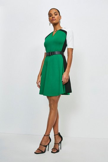 Green Belted Colour Block Ponte Dress