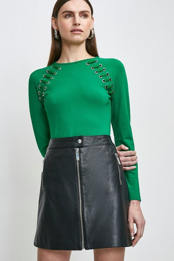 Bright green Laced Eyelet Ponte Top