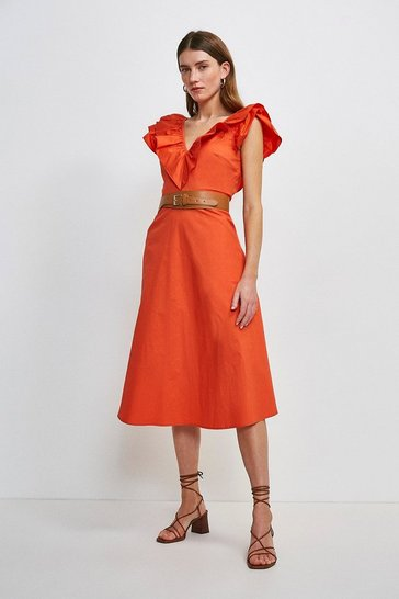 Red Cotton Poplin Ruffle Dress