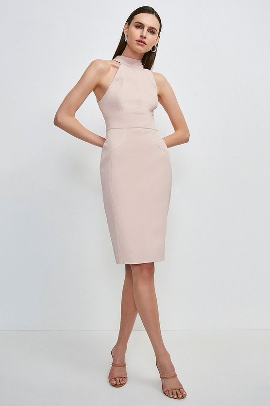 Blush Italian Structured Rib Halter Neck Dress