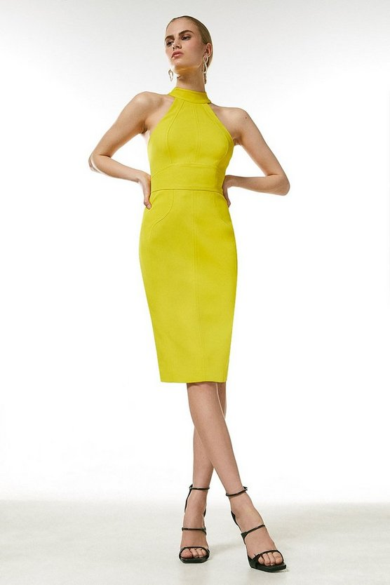 Lime Italian Structured Rib Halter Neck Dress