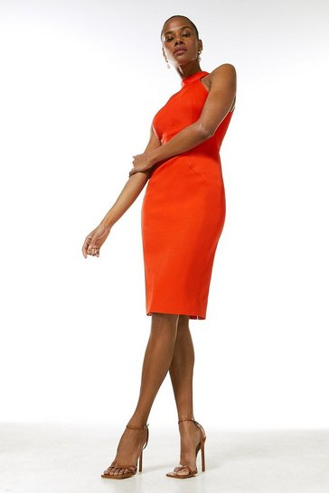 Orange Italian Structured Rib Halter Neck Dress