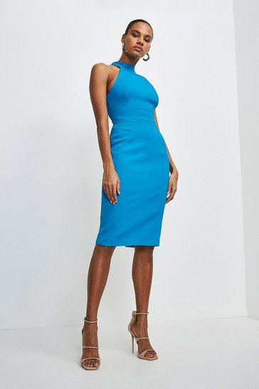 Peacock Italian Structured Rib Halter Neck Dress