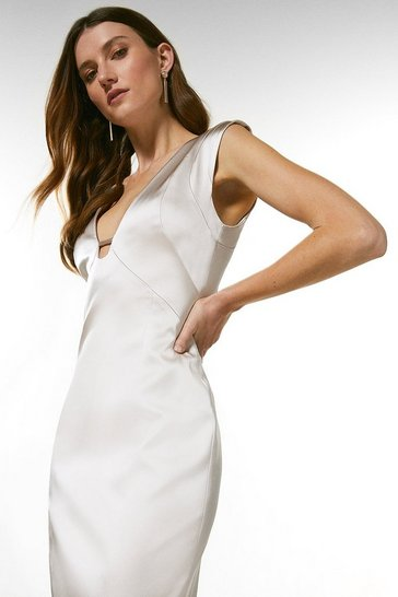 Oyster Italian Structured Satin Cut Out Pencil Dress