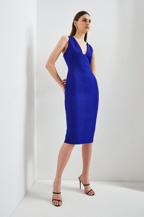 Cobalt Italian Structured Jersey Plunge Neck Dress
