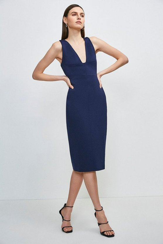 Navy Italian Structured Jersey Plunge Neck Dress