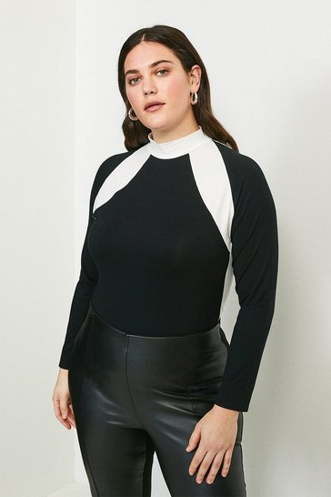Black Curve Jersey Colour Block Funnel Neck Top