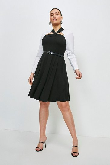 Mono Curve Viscose Jersey Trim Colour Block Dress