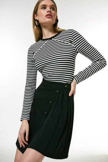 Mono Knitted Jersey Jacquard Stripe Top