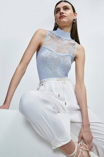 Pale blue Pointelle Lace Insert Knitted Sleeveless Top