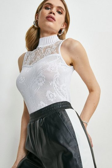 White Pointelle Lace Insert Knitted Sleeveless Top