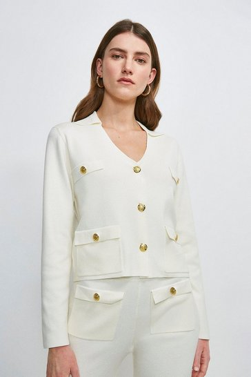 Cream Milano Knitted Military Jacket