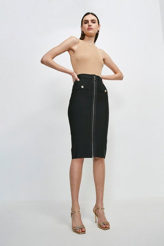 Black Military Bandage Knitted Pencil Skirt