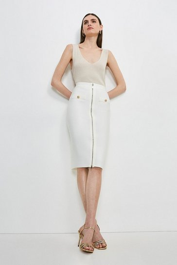 Cream Military Bandage Knitted Pencil Skirt
