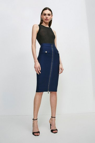 Navy Military Bandage Knitted Pencil Skirt