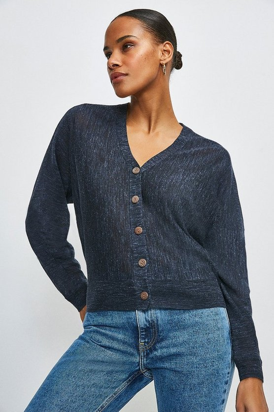 Navy Linen Blend Slouchy Knitted Cardigan