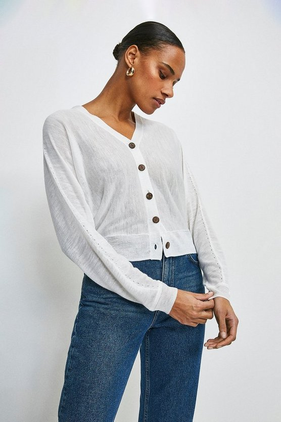 White Linen Blend Slouchy Knitted Cardigan