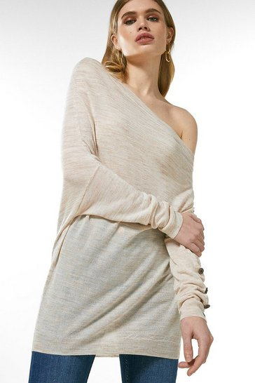 Oatmeal Linen Blend Slouchy Knitted Top