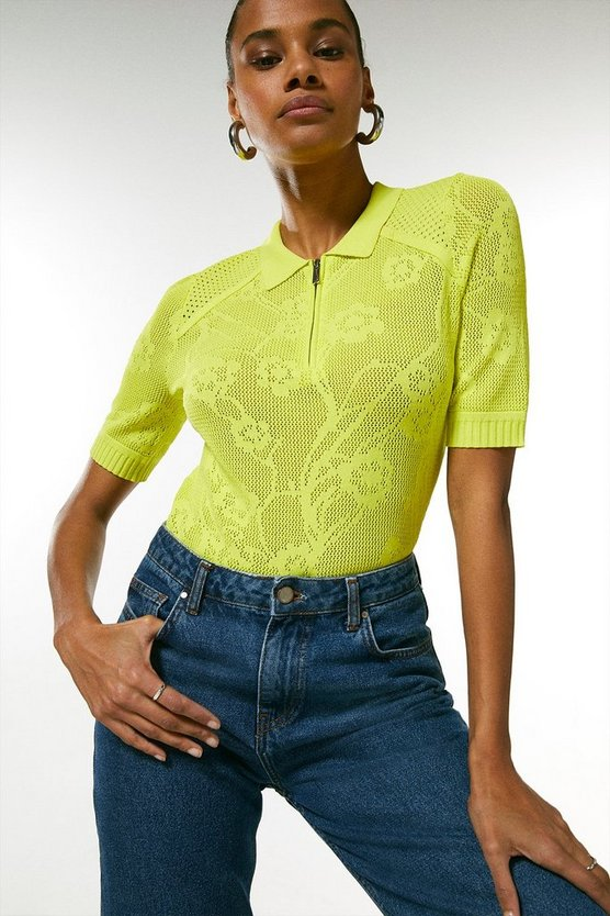 Lime Floral Pointelle Stitch Knitted Polo Top