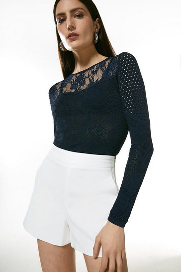 Navy Pointelle Lace Insert Knitted Top