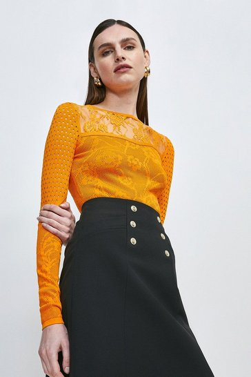 Orange Pointelle Lace Insert Knitted Top