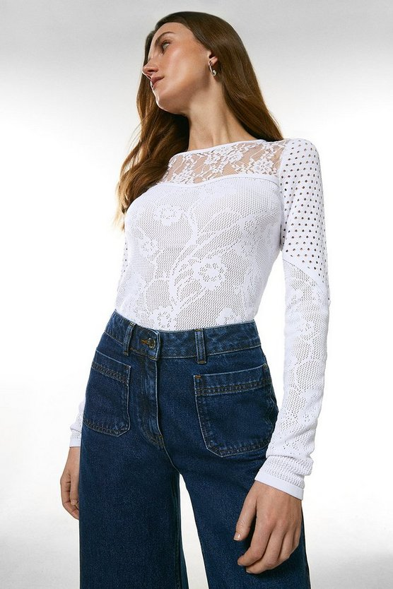 White Pointelle Lace Insert Knitted Top