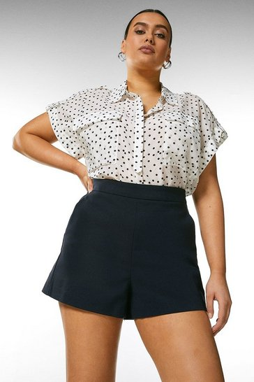 Navy Curve Essential Cotton Sateen Short