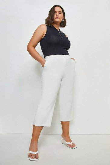 Ivory Curve Essential Techno Cotton Wide Leg Trouser