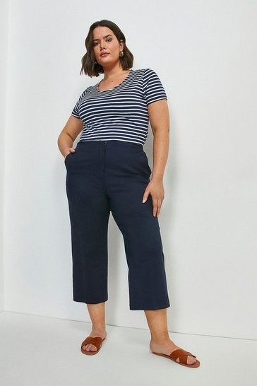 Navy Curve Essential Cotton Sateen Wide Leg Trouser