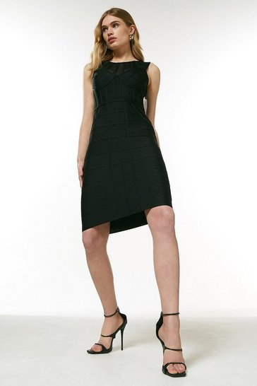 Black Bandage Bodice Knit Dress